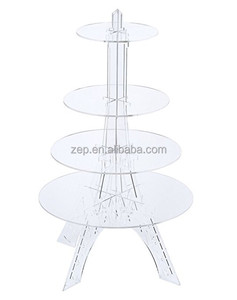 4 Tier Round Wedding Acrylic Cupcake Stand Eiffel Tower Cake Display