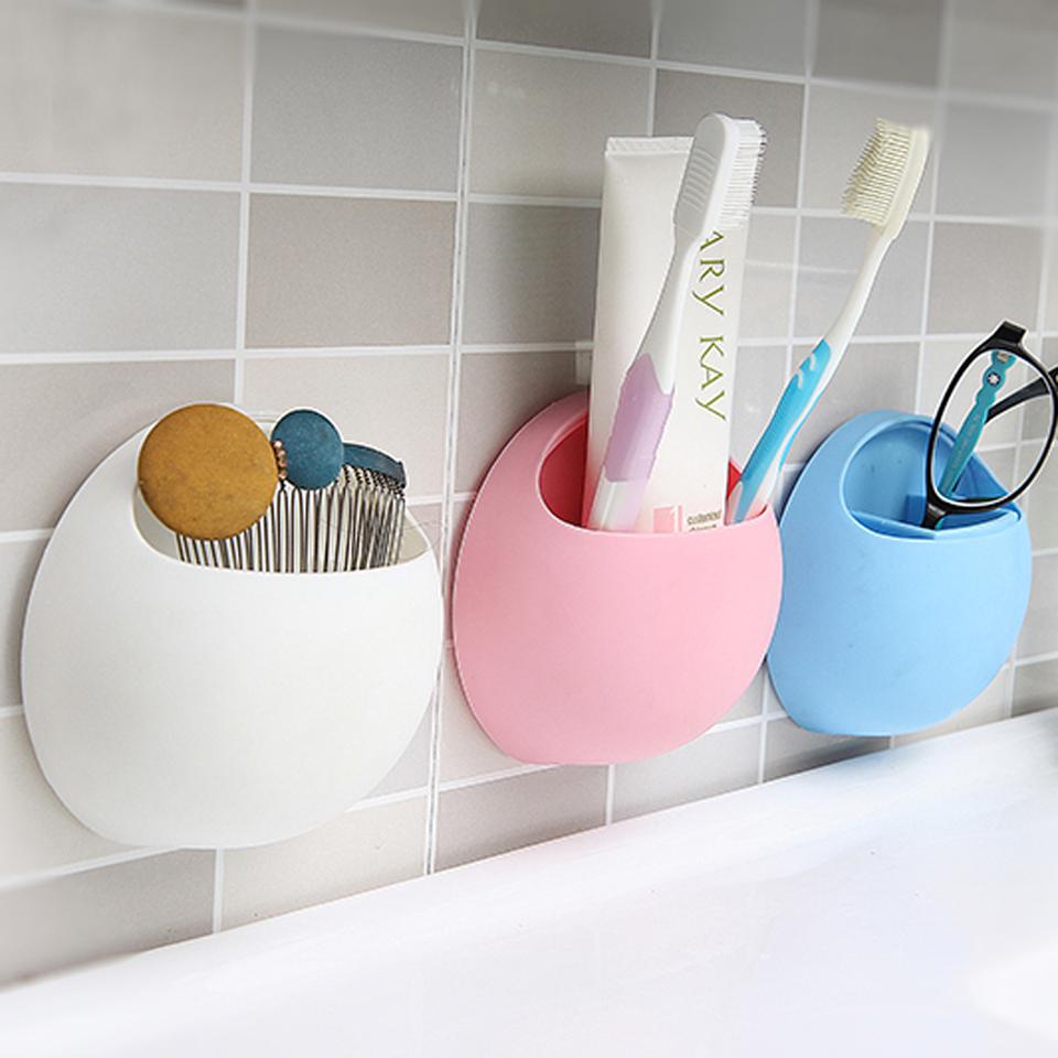 BEST New Toothbrush Sucker Holder Suction Hooks Cup Organizer Toothbrush Rack Bathroom Kitchen Storage Set Free