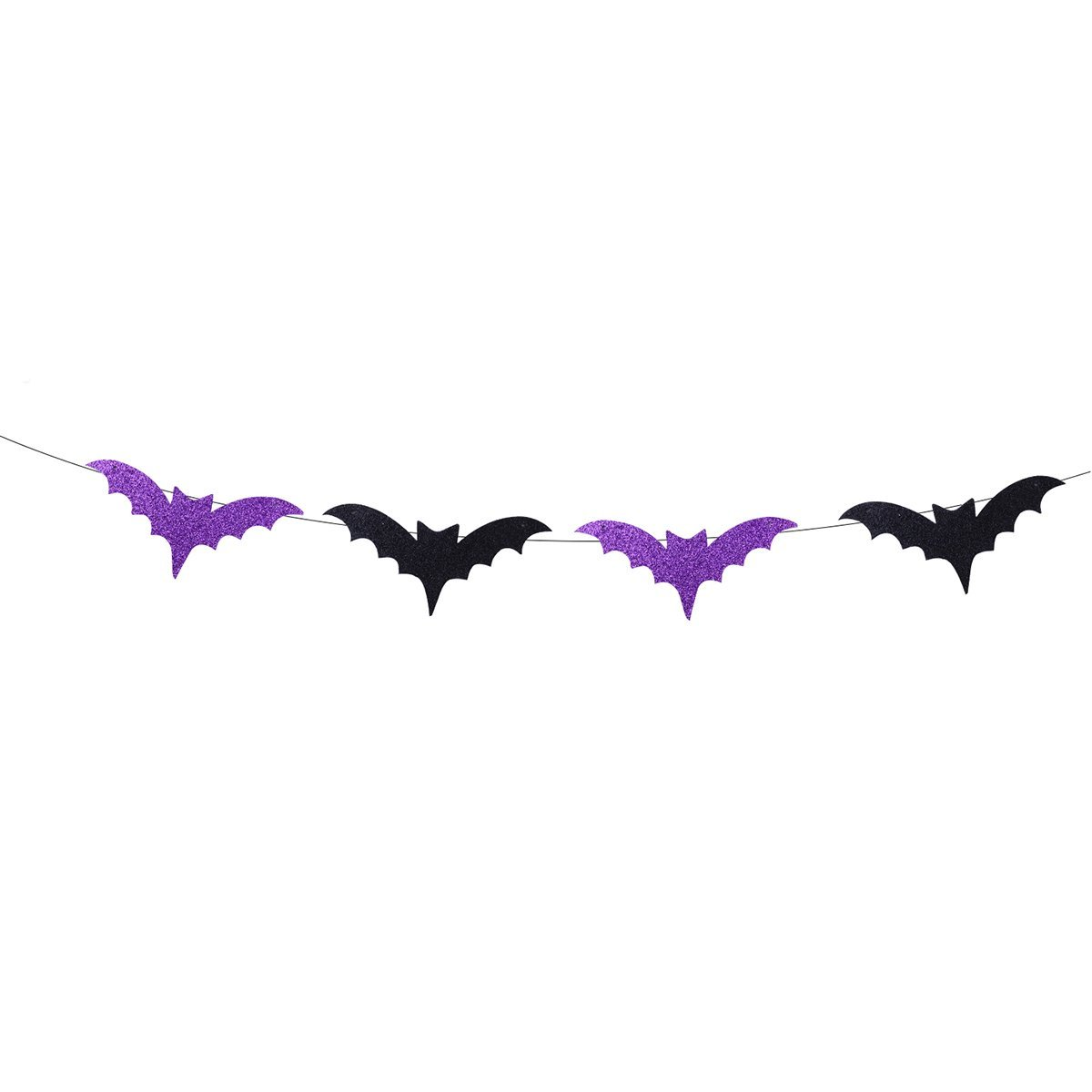 Tinksky Halloween Props Ornaments Black Glittering Bat Shape Bunting Banners Garlands Home Party Decoration halloween banner
