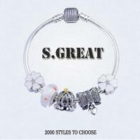 16 beads silver 925 imitation fit pandora bracelet jewelry wholesale China charms beaded fit pandora jewellery