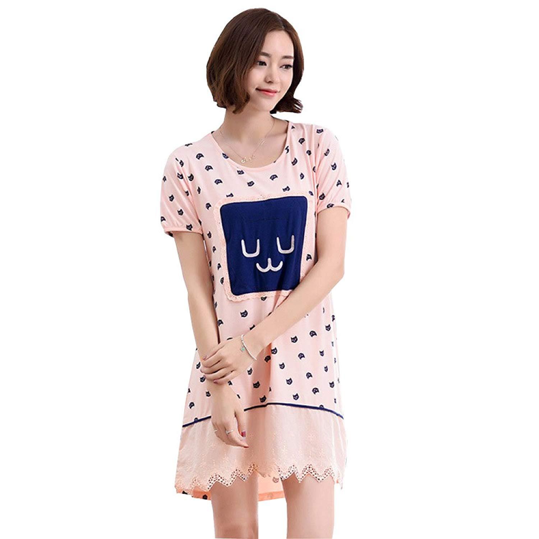 Get Quotations · Summer Nightdress Short Sleeve Pajamas Tracksuit Casual  Sexy Nightdress Loose Piece Pajamas Sleepwear ae05df7f4