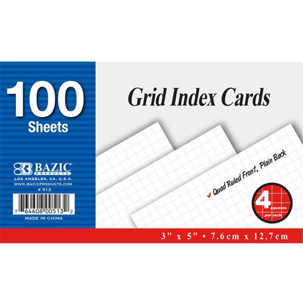 "BAZIC 100 Ct. 3"" X 5"" Quad Ruled 4-1"" White Index Card, Case Pack of 36"