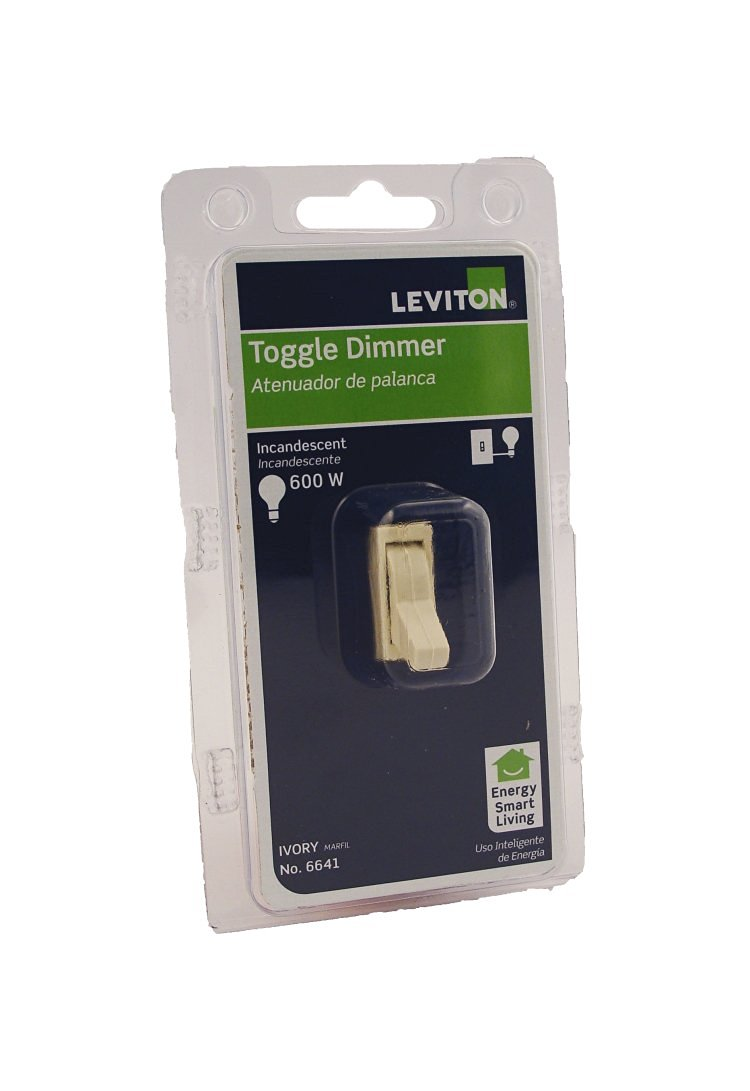 Leviton 6641-I 600 Watt, 120 Volt Ac 60Hz, Single-Pole, Electro-Mechanical Incandescent Toggle Dimmer, Ivory
