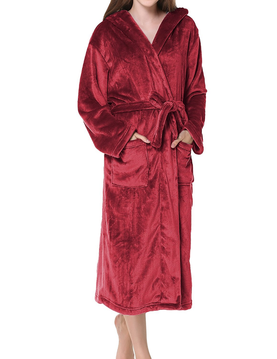 e96e0a12ea Get Quotations · SJINC Women s Hooded Spa Bathrobe Soft Shawl Collar Cozy  Microfiber Fleece Robes
