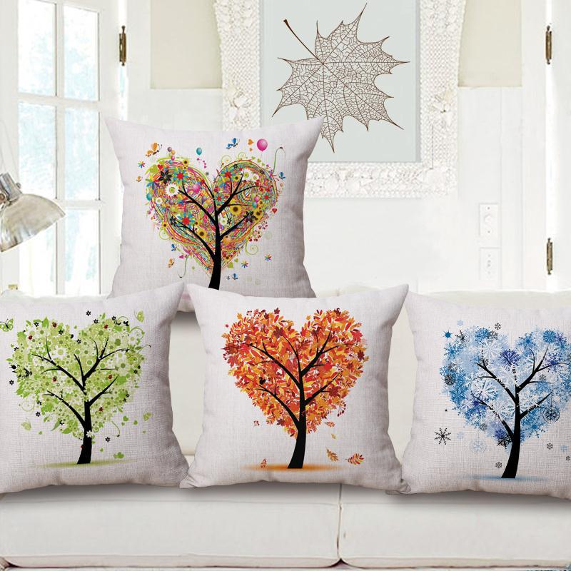 Free Shipping four seasons of a tree Cotton Linen Fabric Decorative Cushion 45cm Hot Sale New Home Fashion Christmas Gift Pillow