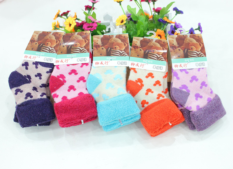 Free shipping 2015 new autumn and winter thickening thermal cashmere socks loop pile socks kid s