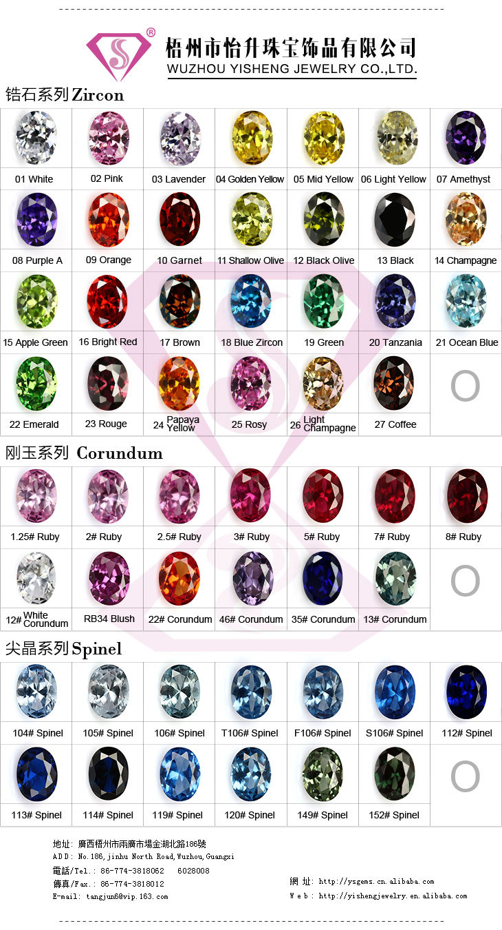 Synthetic Cubic Zirconia Gl Cat Eye Gemstone Color Chart Product On Alibaba