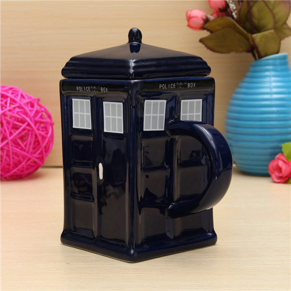 2016 New Stylish Hot Sale Doctor Who Tardis Mug Ceramic Mug With Removable Lid Cup Gift Drinking Cup