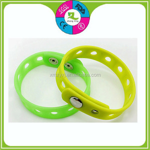 Jelly colors band charm hole silicone wristband detachable rubber snap bracelet