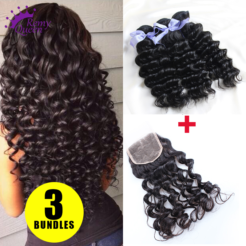 Peruvian Deep Wave Virgin Hair With Lace Closure Human Hair Weave Lace Closure With Bundles Peruvian