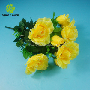 Artificial rose garlands wholesale Yellow rose bouquet for respecting funerals