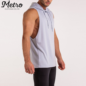 wholesale men muscle fit sleeveless custom gym hoodies