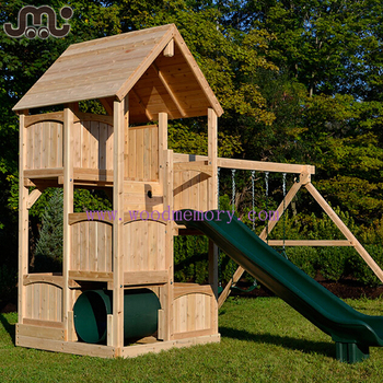 Custom multi-function unfinished wooden swing play set