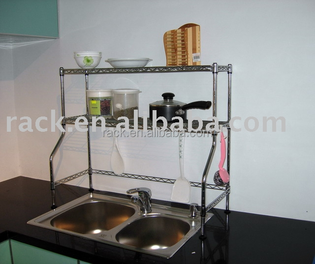 Nsf Approval Stainless Steel 2 Tiers Home Kitchen Over The Sink Shelf  Organizer   Buy Sink Shelf,Sink Organizer,Over The Sink Shelf Product On  Alibaba.com