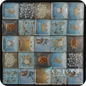Square Inkjet Girl Design Crystal Glass Tile Mosaic Mural Patterns From Factory