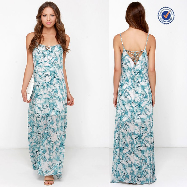 Adjustable spaghetti straps sweeping hem teal blue print maxi dress european fashion wholesale