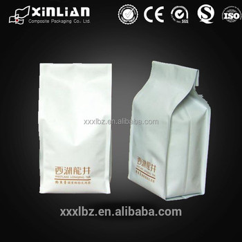 Resealable Coffee Bags Matt White Block Bottom Foil