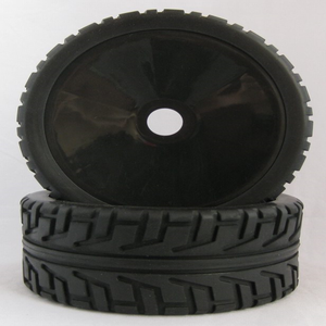 2Pcs 1/8 Scale Model Cars Rubber Plastic Tyres Tires and Wheels with Rims for 1:8 RC Buggy Cars (180103)