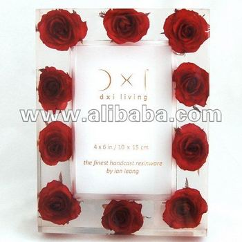 Photo Frame Resin Hand Cast : Red Roses Embed : 4 X 6 Inch   10 X 15 ...
