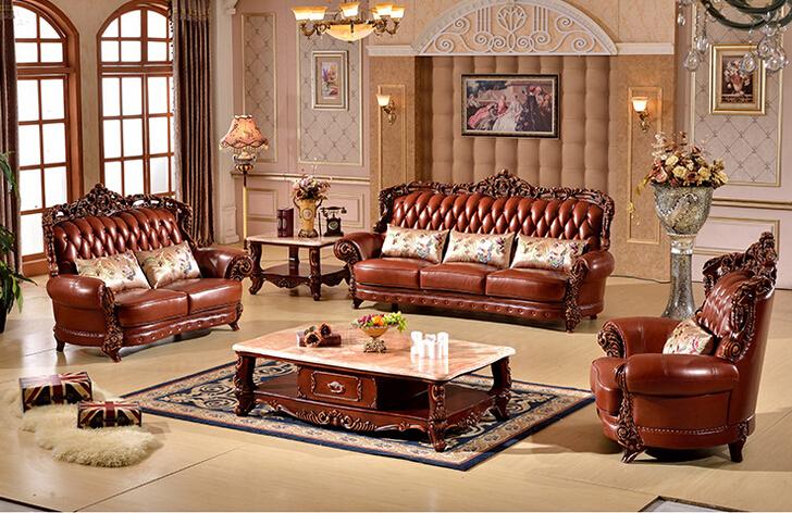 haute qualit luxe en cuir v ritable avec bois funiture am ricaine salon de style canap en cuir. Black Bedroom Furniture Sets. Home Design Ideas