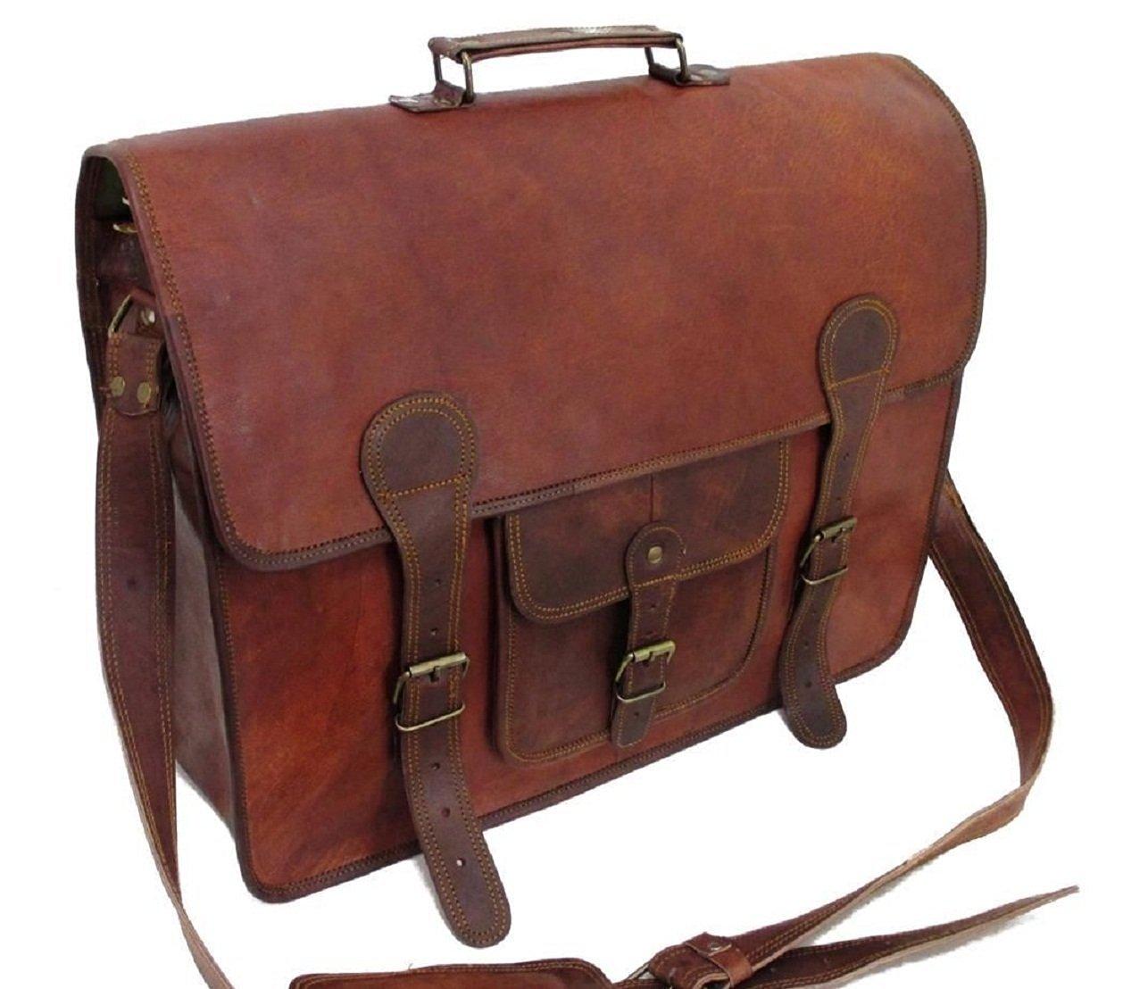 3d5a1e9989b Get Quotations · Phoenix Craft Men s Large Genuine Vintage Brown Leather  Messenger Bag Shoulder Laptop Bag Briefcase 18X13X6 Inches