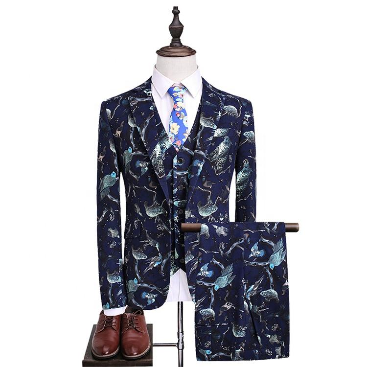 Hot sale slim fit party wear new model luxury blazer executive wedding business suits set for men slim suit, Printing