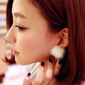 New metal real leather round mink fur ball silver earring for women earrings