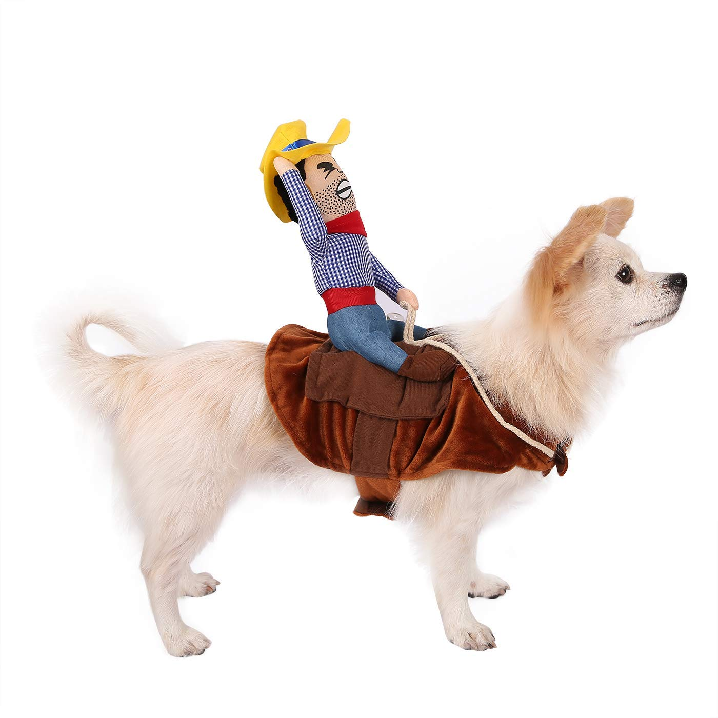 HDE Cowboy Dog Costume Halloween Pet Apparel Soft Saddle with Stuffed Cowboy  Outfit for Medium and f7e1905b2