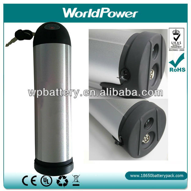 Water bottle style Lithium ion battery for electric bicycle/ebike/batteries with charger,BMS Li ion battery packs 24V 12Ah