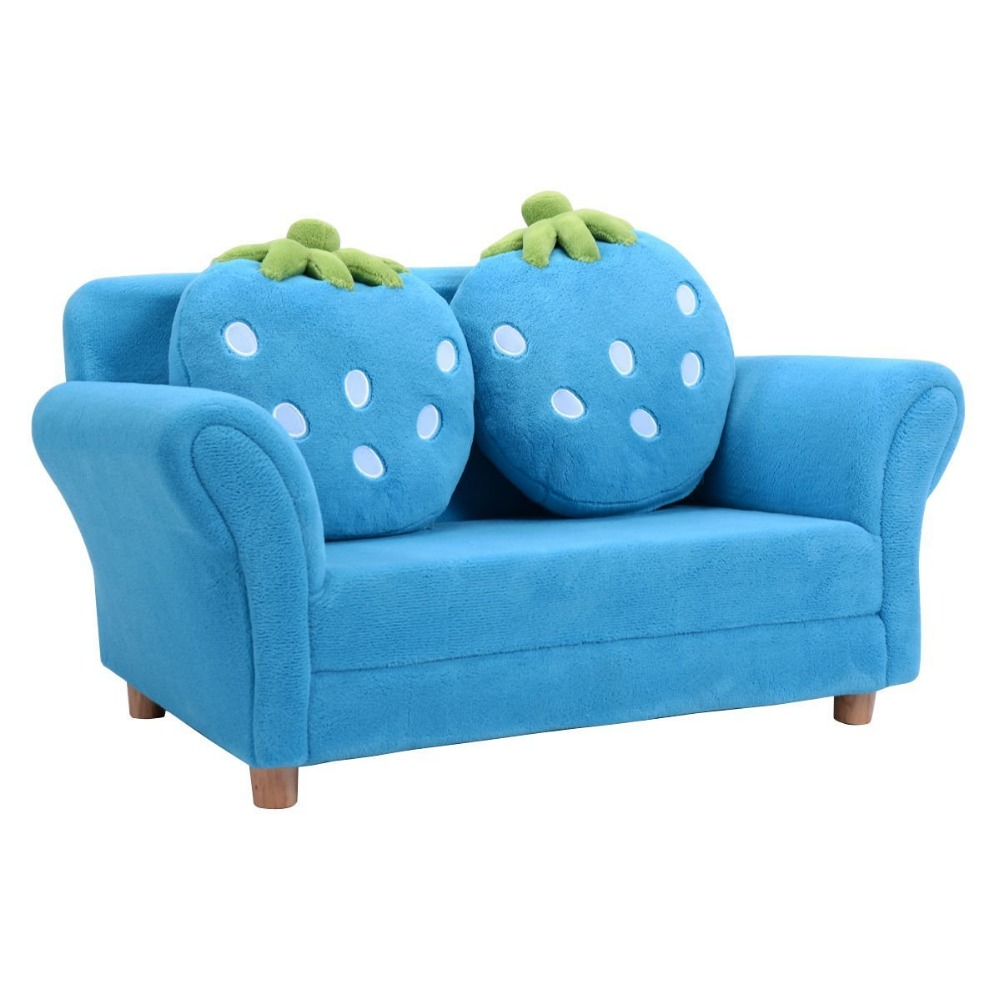 Custom Made Kids Furniture Double Seat Fabric Sofa With Strawberry Pillow Children Set Product On Alibaba