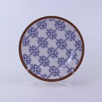 Custom design high quality 13.7 inch big size round plate with printed patten