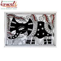Madhubani folk painting fine art handpainted greeting card elephant