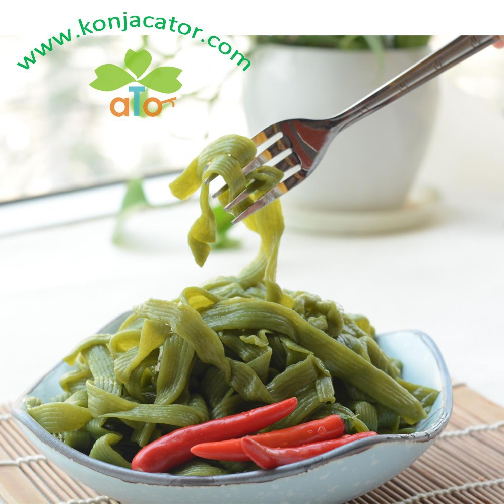 Chinese manufacturer instant food konjac spinach noodles in bulks
