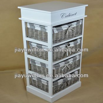 English Bulk Wooden Storage Cabinet With Wicker Baskets With ...