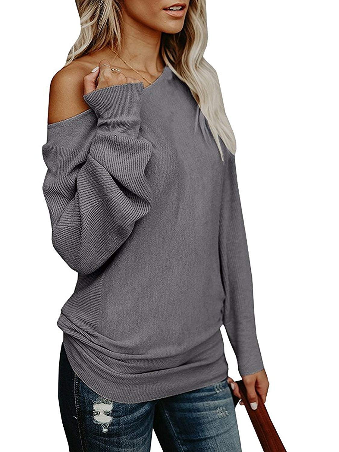 dc91ac231b3e3d Get Quotations · Womens Oversized Sweaters Off The Shoulder Cute Chunky  Knitted Tunic Pullover