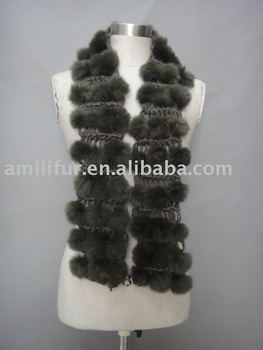 Hand Crochet Iceland Yarn Scarf With Rabbit Fur Balls Trim Stylish
