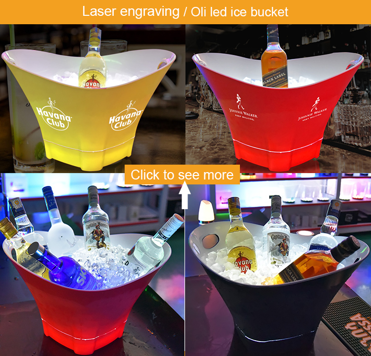 new design boat shape acrylic plastic laser engraving beer wine champagne ice bucket tongs