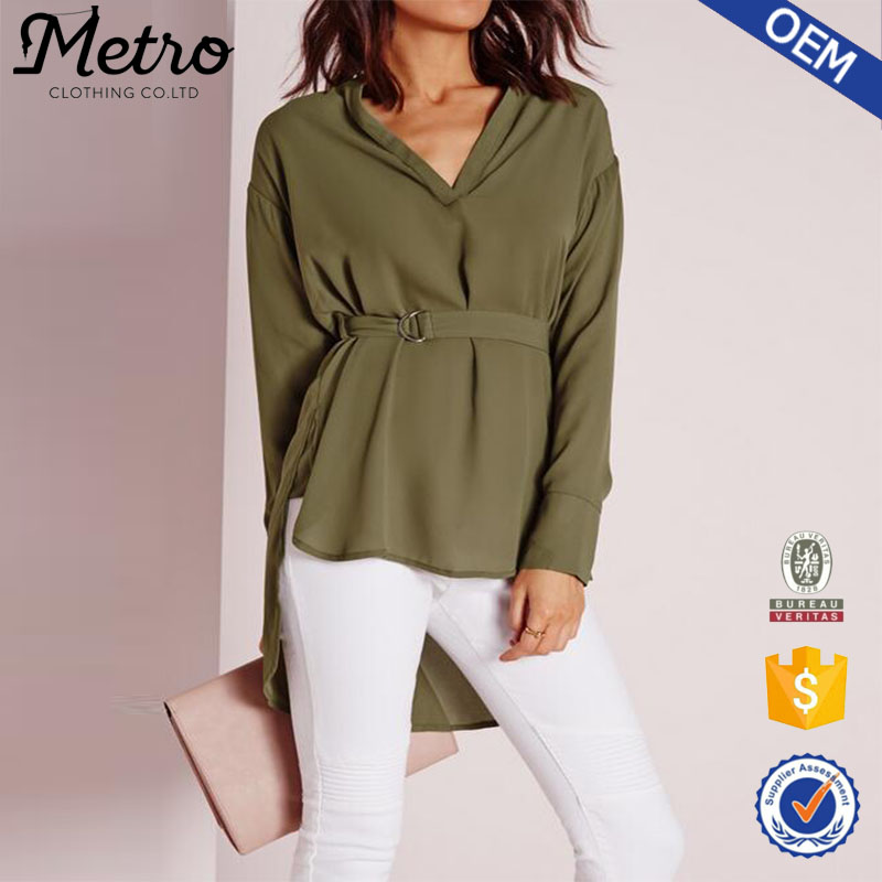 Short Front Long Back Crepe Blouse 2016 Lady OEM Olive Blouse and Skirt