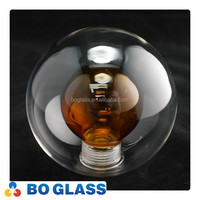 wholesale lighting factory party home decorative stained glass lamp shade double wall amber color glass lamp cover