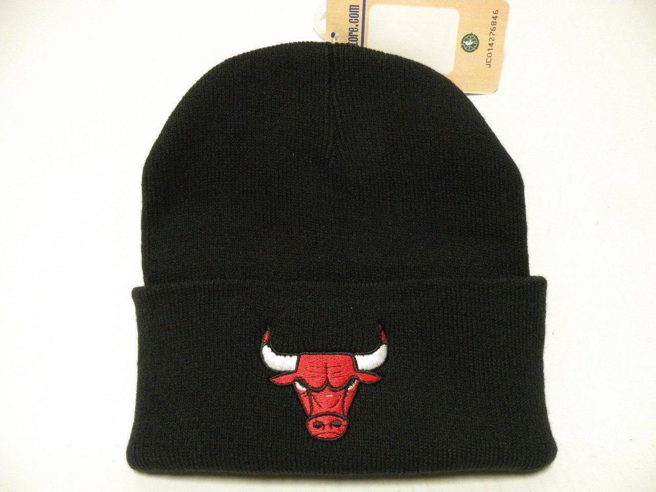 eb758db89326e3 Get Quotations · Authentic NBA Chicago Bulls Logo Team Black Cuffed Retro  Knit Beanie Cap