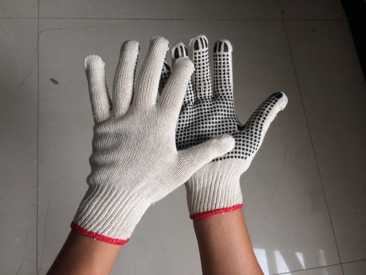 pvc dotted natural white glove