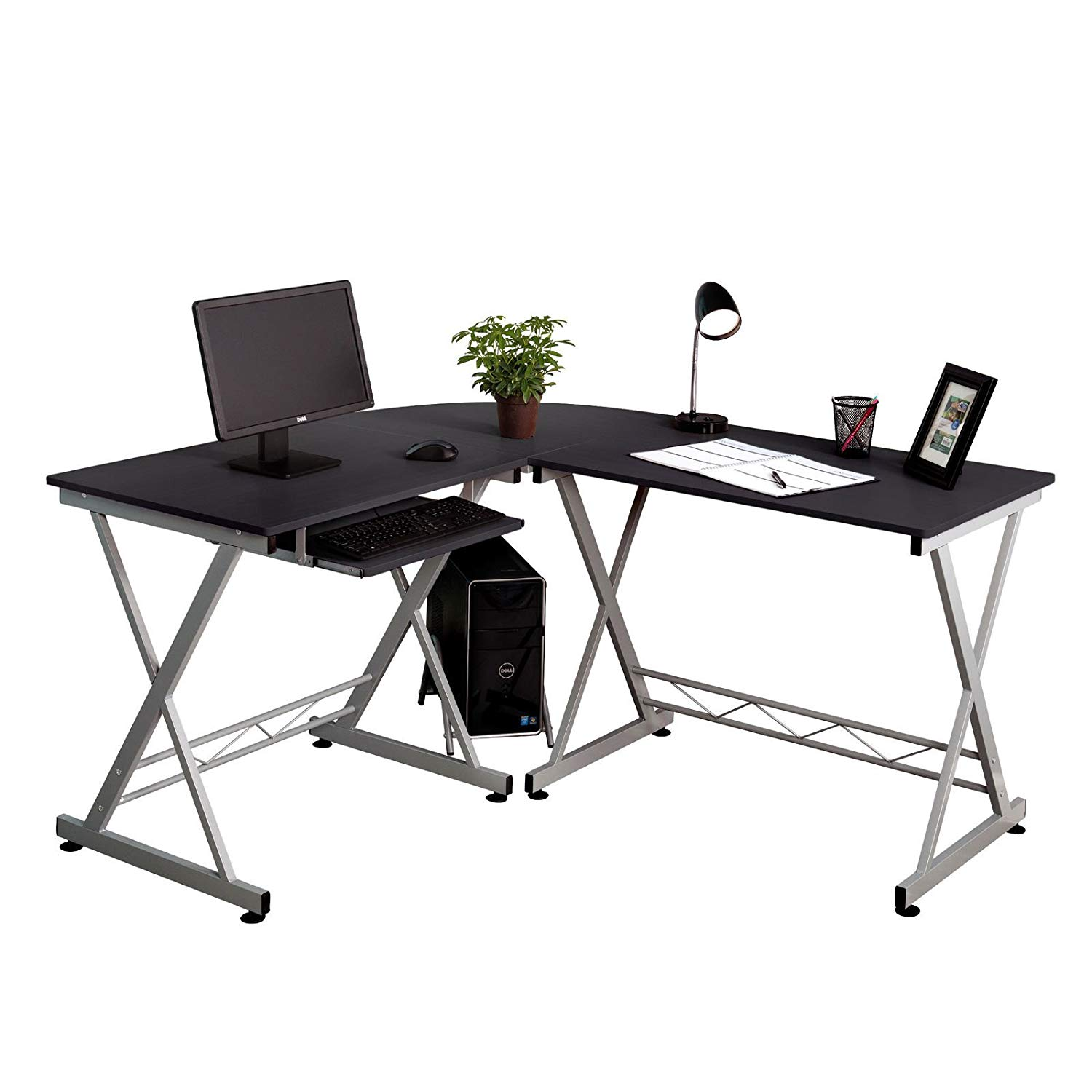 Cypressshop Cornor Computer Desk PC Laptop L-Shaped Table Workstation Home Office Save Space with Sliding Keybord Holder and Computer Case Stand Home and Office Furniture