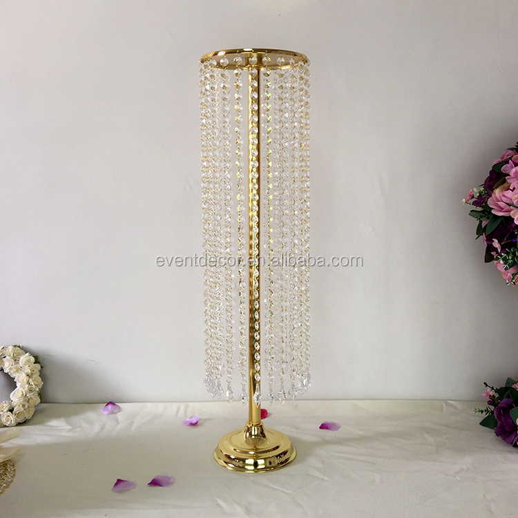 Gold wedding centerpiece hanging acrylic bead flower stand for wedding table