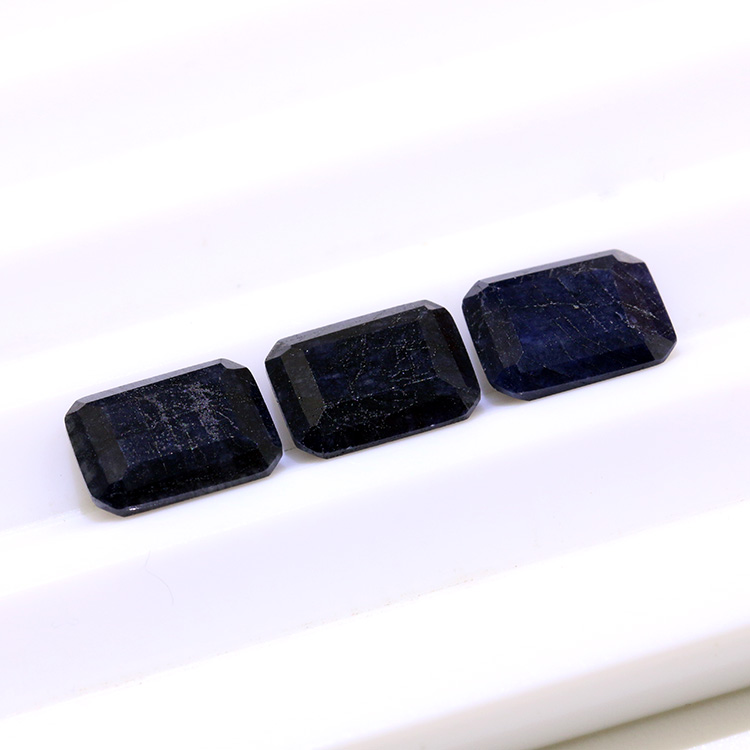 natural 7x9mm emerald cut black sapphire loos gemstone for jewelry