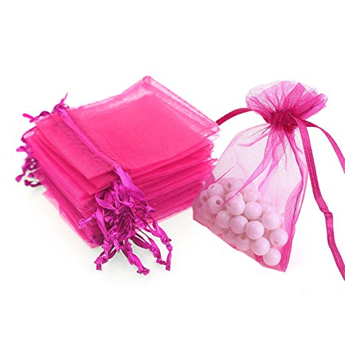 """4""""X6"""" Organza Bags,100PCS 10cm X15cm Drawstring Organza Jewelry Pouches Wedding Party Festival Favor Gift Bags Candy Bags (Rose)"""