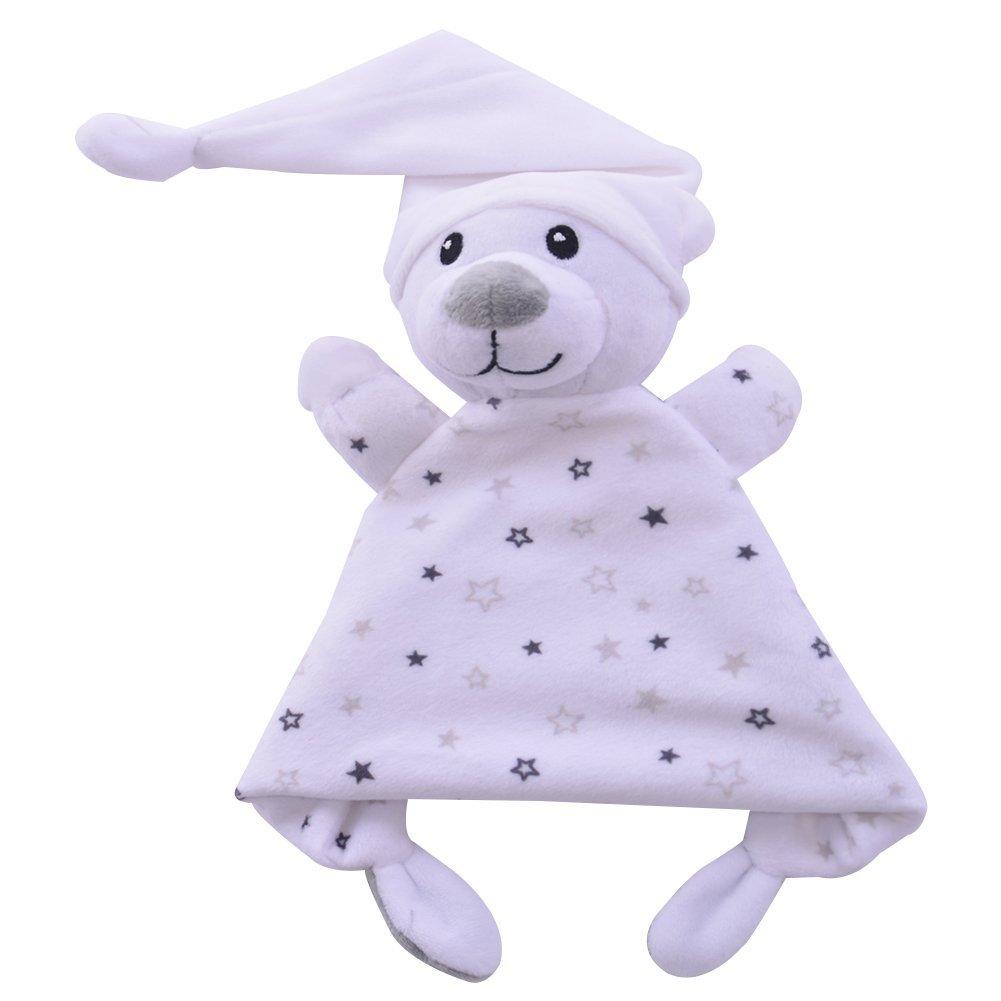 Wingingkids Ultra Soft Plush Baby Lovie Stuffed Animal Blankie Breathable Security Blanket, Newborn Baby Boy Use, Stuffed Bear, Cream