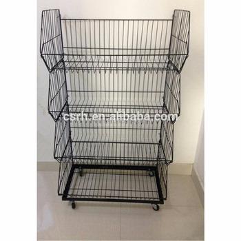 Wire Storage Basket With Wheels RH BR02 Wire Basket Rack