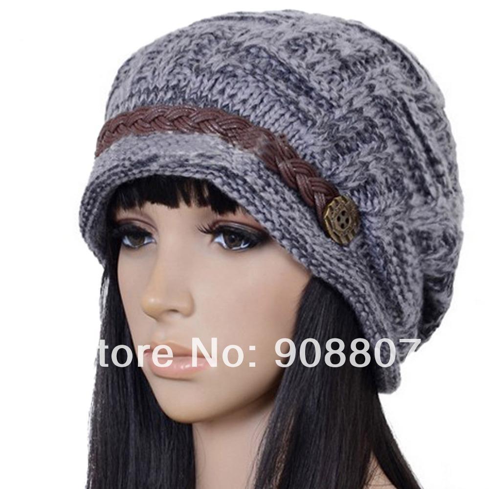 8432587335b Etang Free Shipping Slouchy Cabled Pattern Knit Beanie Crochet Rib Hat Brim  N..