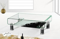 heat bent glass coffee table with beautiful printing