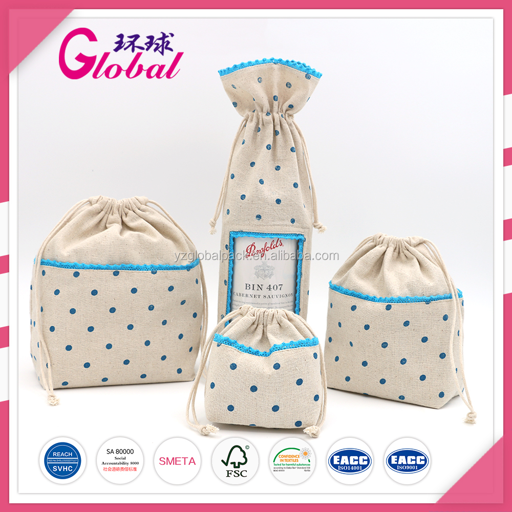 Global Printing Dots cotton drawstring dust bags